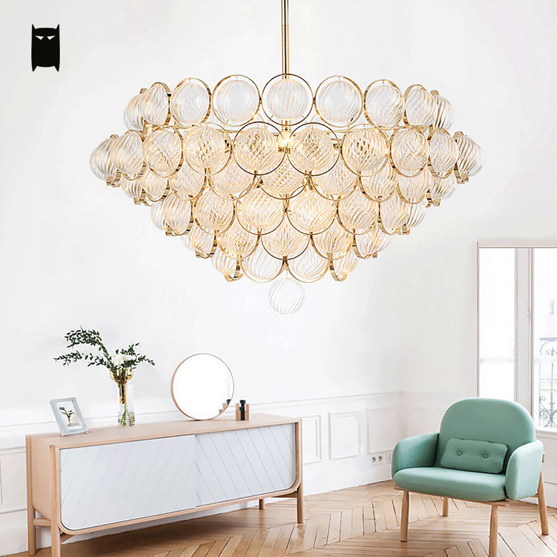 Glass Scale Gold Chandelier Light Fixture Modern Contemporary Art Luxury Hanging Lamp Lustre Avize Luminaria Design