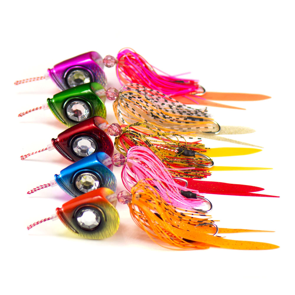 5PCS Countbass 100g 3 5oz Ultimate Slider Jig Tai Rubber Kabura Fishing Lure Rigged VMC Assist