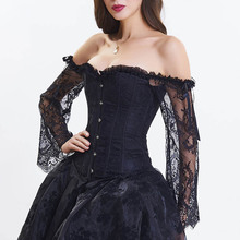 Sexy Black Floral Lace Flare Sleeve Ruffle Off Shoulder Strapless Gothic Corset Top Steampunk Clothes Victorian Bustier Lingerie ruffle trim flare sleeve top