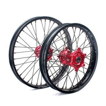 BIKINGBOY 21*1.6 18*2.15 MX Front Rear Wheel Rims Complete Hub 36 Spokes for Honda CRF 250R CRF 450R 04-13 CR 125 CR 250 02-13