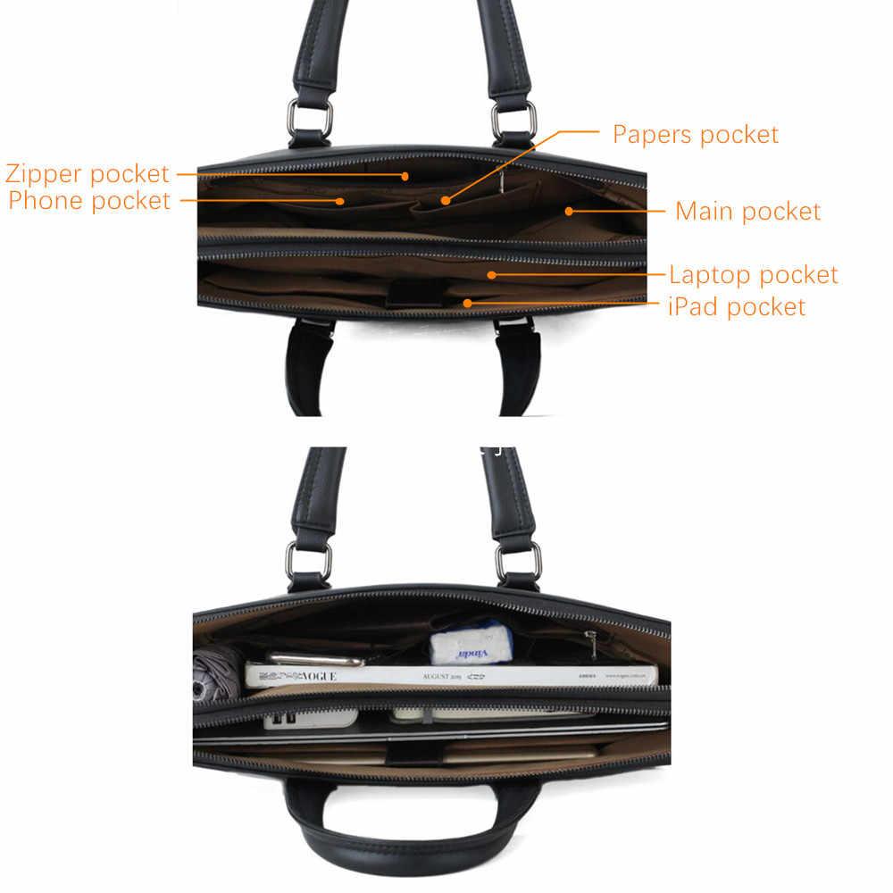 جيب BULUO الرجال حقيبة جلدية حقيبة الأعمال العلامة التجارية الشهيرة حقائب كتف متنقلة مكتب حقيبة 14 بوصة كمبيوتر محمول جودة عالية