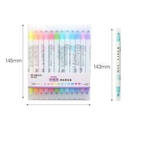 Image 2 - 4 компл./лот мягкий 12 цветной маркер двухсторонний 3 мм Bold 0,5 мм мелкая ручка для рисования Канцтовары офисный школьный принадлежности A6103