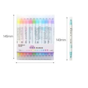 Image 2 - 4 대/몫 마일드 12 색 형광펜 마커 듀얼 사이드 3mm 굵게 0.5mm 파인 드로잉 펜 편지지 사무실 학교 용품 a6103