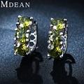 MDEAN White gold plated Earring Earrings for women AAA Zircon Wedding Luxury Hoop Luxury Green imitatedBeryl Earing MSE048