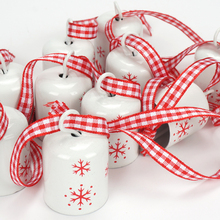 12 pcs red Cylindrical Jingle Bell 25 mm Christmas snowflake small bell tree hanging decoration for home