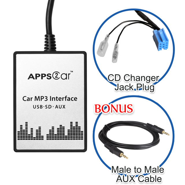 Apps2car Usb Sd Aux Car Digital Music Changer For Toyota: Car MP3 Interface USB SD AUX Digital Music Changer For