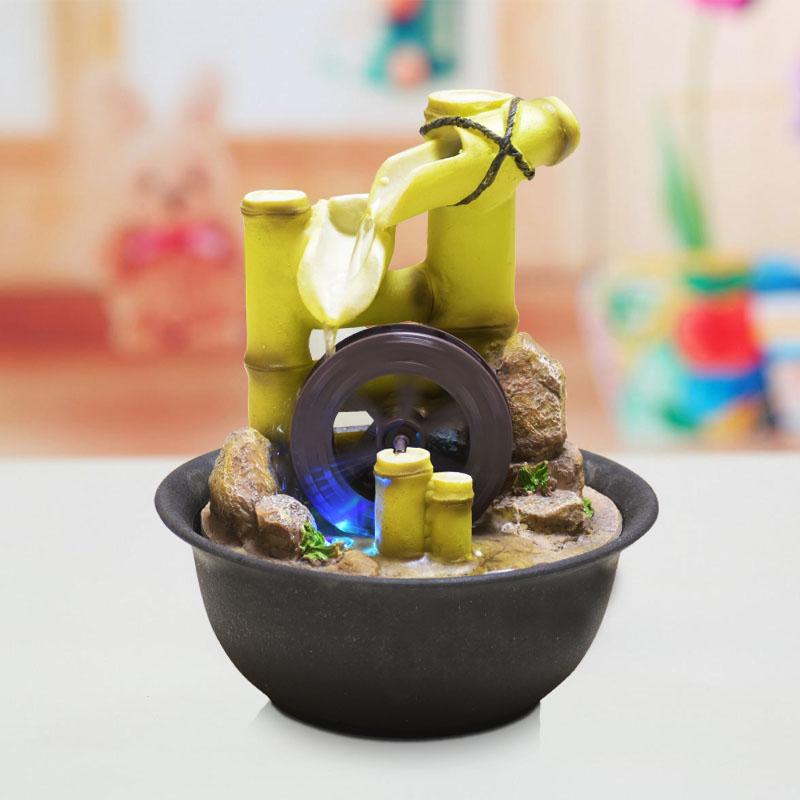 creativa resina fuente de agua feng shui adornos noria de oficina de bamb decoracin figurines artesana