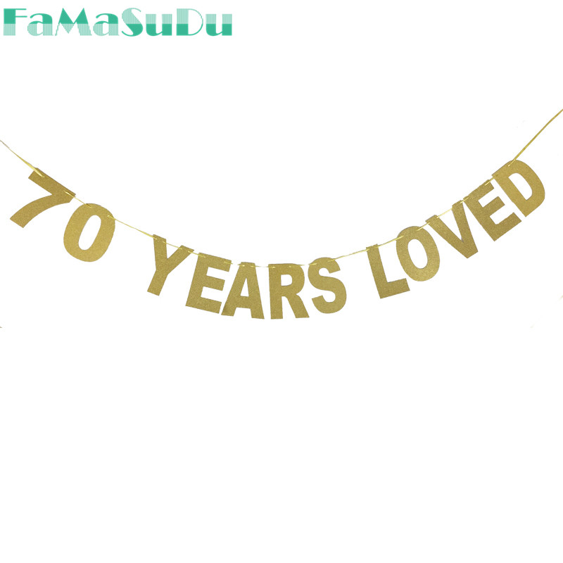 70 years loved Glitter Banner 70th Birthday Party Decorations Seventy Anniversary Sign Home Decor Favors Supplies Photo Props