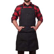 Work Apron Canvas Tool Pockets Cross back Straps Adjustable For Barbecue Woodworking E2S