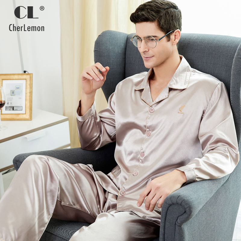 CherLemon Premium Silkly Satin Mens Pajamas Sleepwear Classic Long Sleeved Button Down Solid Nightwear Soft Autumn Pyjamas M-4XL