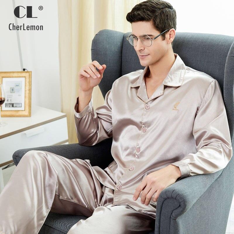 CherLemon Prime Silkly Satin Mens Pyjamas Vêtements De Nuit Classique À Manches Longues Bouton Vers Le Bas Solide De Nuit Douce Automne Pyjamas M-4XL