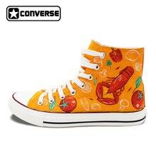 Ручная роспись обувь для мужчин и женщин Converse All Star дизайн в западном стиле пищевой Омар томатный пименто брокколи холст кроссовки