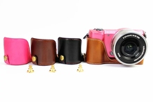 Camera Bottom Case PU Leather Half Body Set Cover For Sony A5100 A5000 With Battery Opening