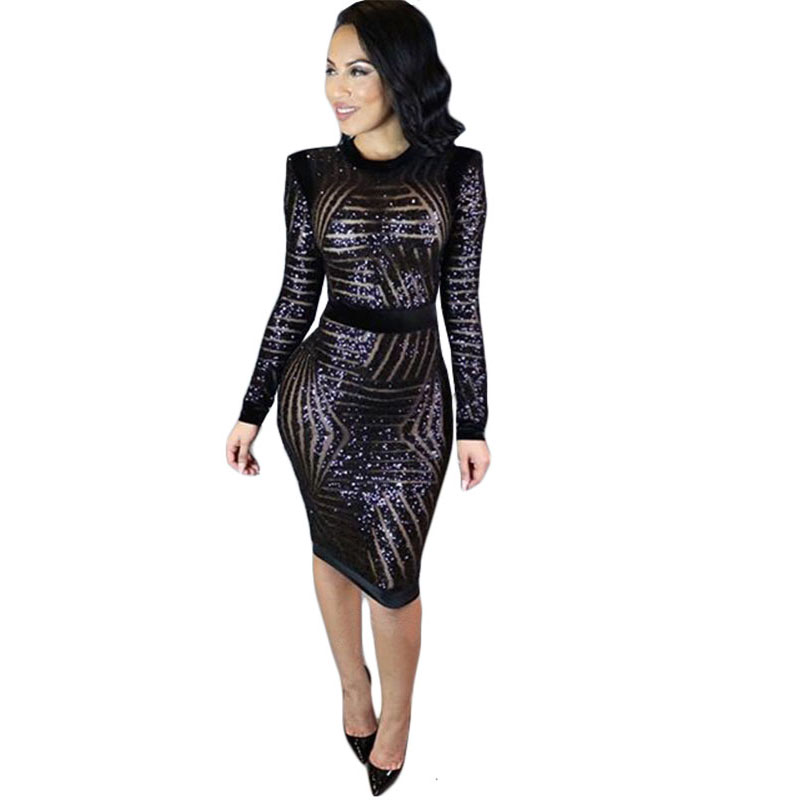 2017 hot women dress sexy long sleeve black sequin pencil