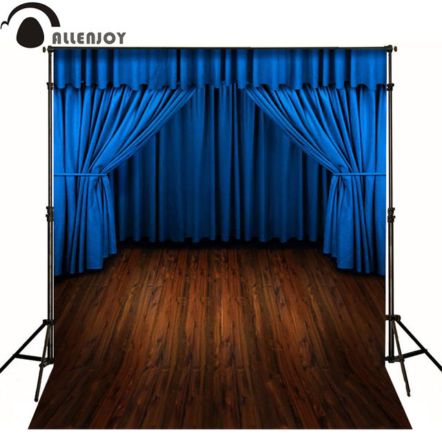 Allenjoy fotografische achtergrond Blauw gordijn podium floor drama ...