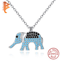 BELAWANG 925 Sterling Silver Elephant Pendant Necklace With Austrian Crystal CZ Necklaces For Women Genuine Silver