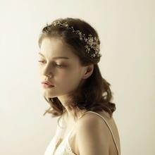 Women Rhinestones Headbands Handmade Hair Jewelry Marriage Hair Band Wedding Accessories Bride Headdress Gold Flower O825