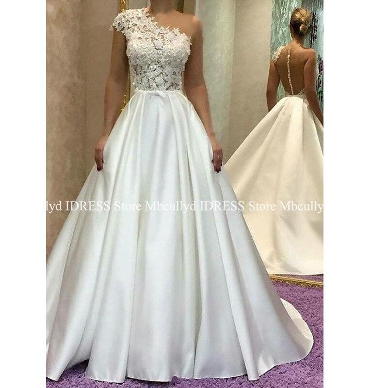 Vestidos De Noiva 2019 Elegant Applique Lace Long Wedding Dress Sexy One Shoulder White Princess Satin Wedding Gowns Mariage
