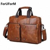 100 Cowhide Men S Business Briefcase Genuine Leather Man Vintage 14inch Laptop Computer Shoulder Bag Luxury