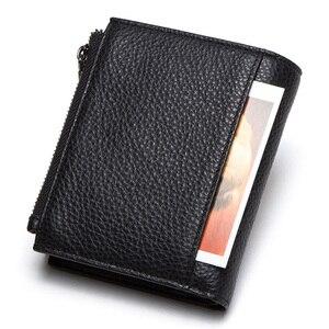 Image 2 - 연락처 정품 가죽 남성용 지갑 RFID 더블 지퍼 짧은 walet cartera hombre 남성용 지갑 portfel man 지갑 동전 주머니