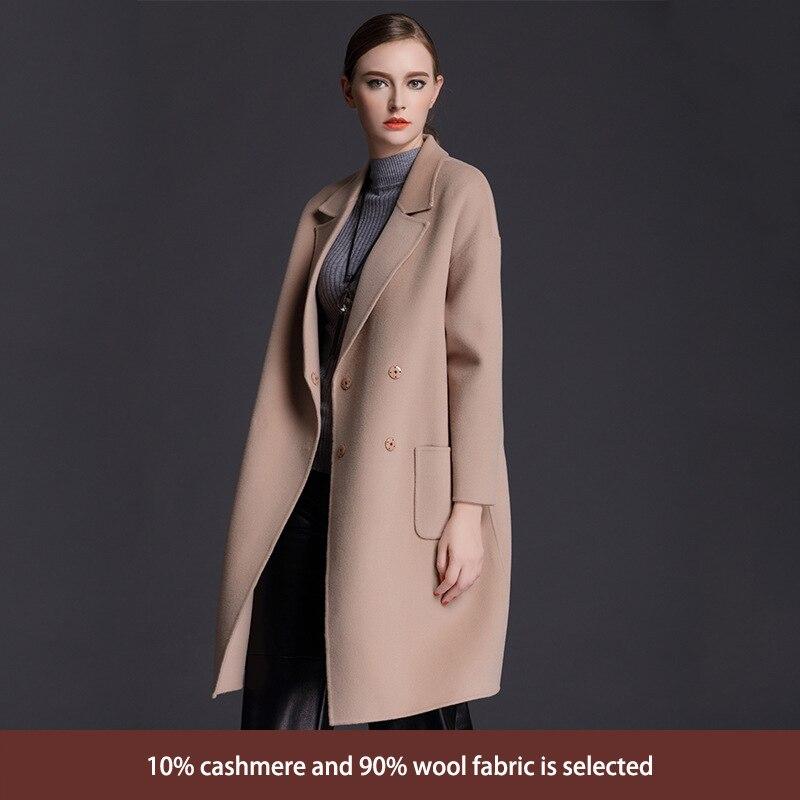 2017 nouveau manteau d'hiver femmes double breasted cachemire manteau en vrac dans la longue section de haut de gamme femme Coréenne de laine veste