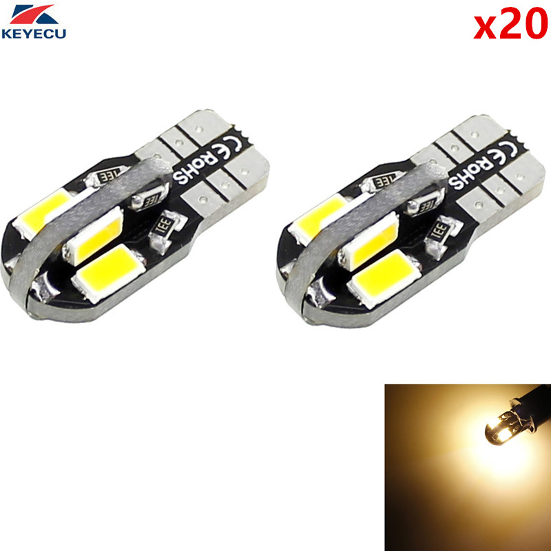 KEYECU 20 Pack Warm White W5W T10 8SMD 5730 Car Interior and Exterior Led Bulb for Map Dome Courtesy License Plate Light