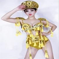 EC48 Gold color bikini ballroom dance sexy women costumes dress army uniform outfit catwalk performance clothes dj party wears