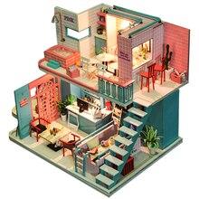 цена CUTEBEE DIY Dollhouse Wooden doll Houses Miniature Doll House Furniture Kit Casa Music Led Toys for Children Birthday Gift K40 онлайн в 2017 году