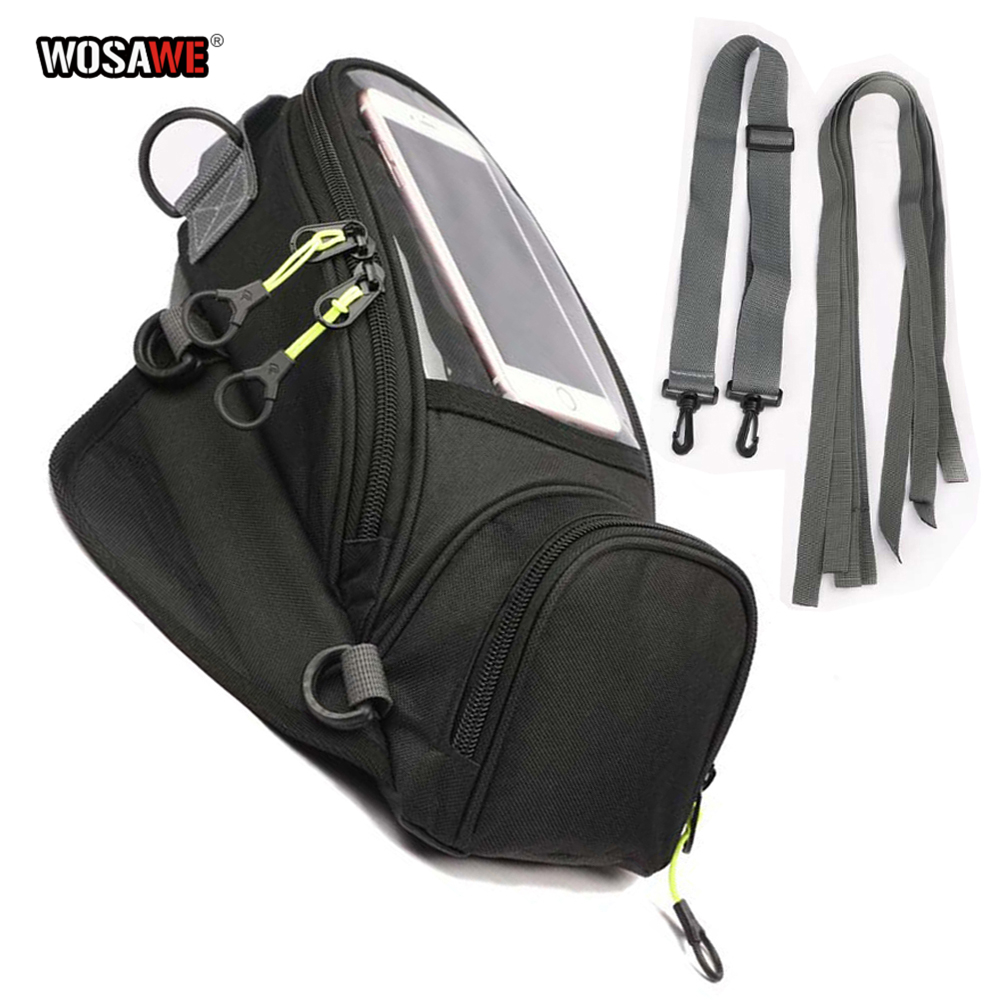 WOSAWE Motorcycle Fuel Bag Mobile Phone Navigation Bag Multi functional Small Oil Tank Package Magnetic Fixed Straps Fixed-in Tank Bags from Automobiles & Motorcycles