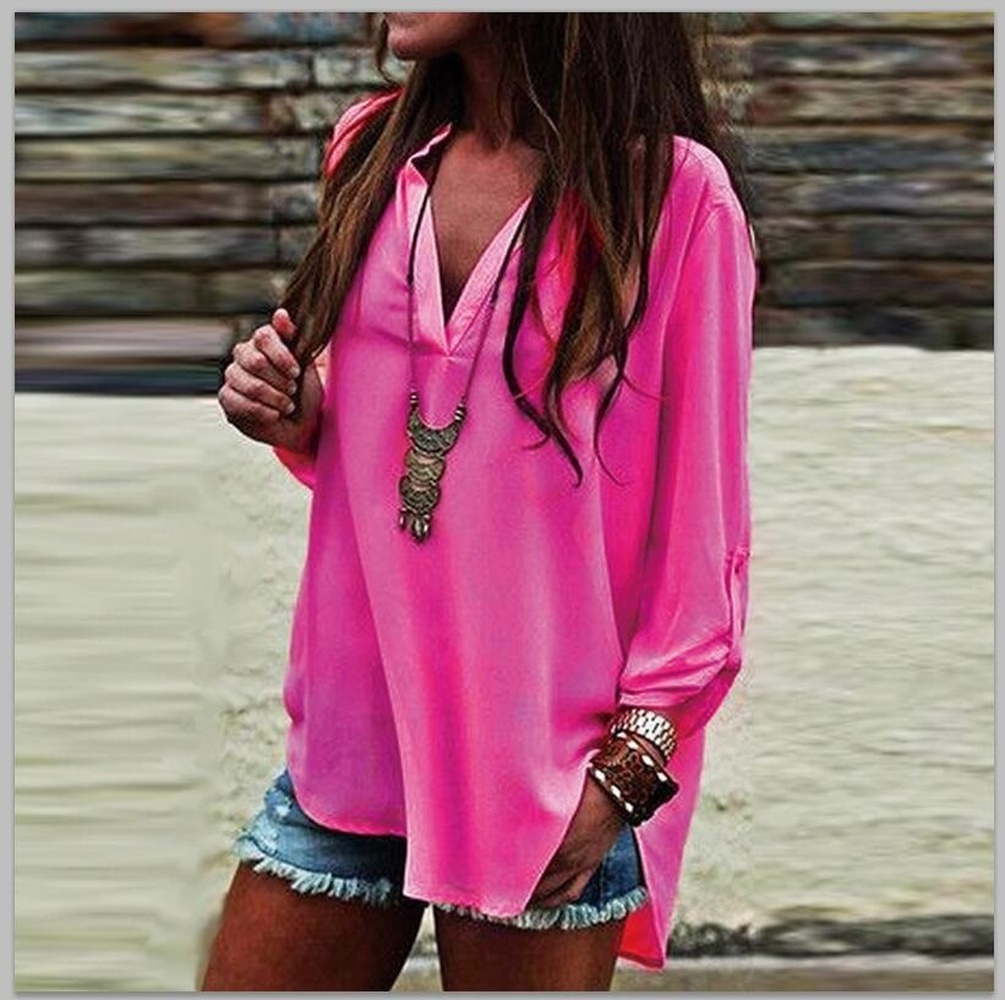 ZOGAA Women Causal Chiffon Shirt Tops Loose Long Sleeve Sexy Deep V neck Pullover Blouse Fashion Summer Shirts Plus Size in Blouses amp Shirts from Women 39 s Clothing