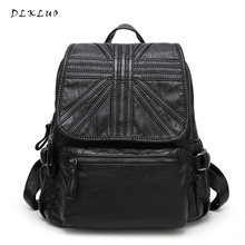 2017 new Korean Fashion Leisure Travel Backpack large capacity bags washed sheepskin Genuine leather backpack Women Backpack