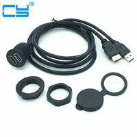 2 m/6ft 1 m/Długość stopy USB 3.0 męski na Żeński & HDMI Przedłużacz AUX Panel Równo zamontować Do Samochodu, łodzi i Motocykli