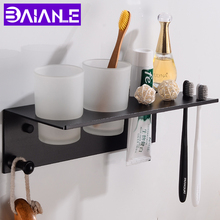 Black Toothbrush Holder Couple Space Aluminum Bathroom Accessories Set With 2 Cup Wall Mounted Storage Rack
