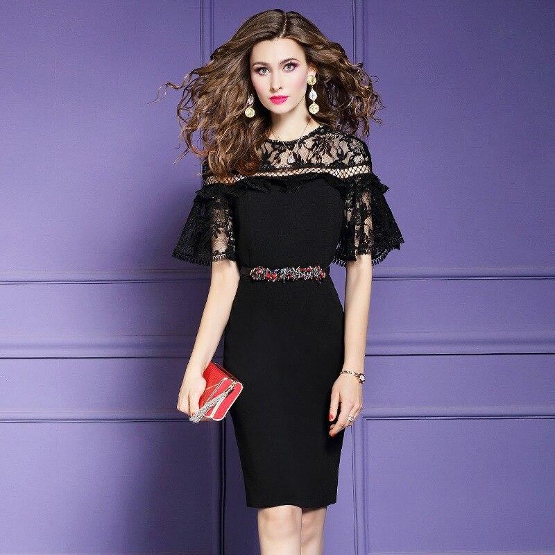 ladies Lace Party Dress 2019 new High Street spring elegant Retro dress 3xl Summer Womens sexy