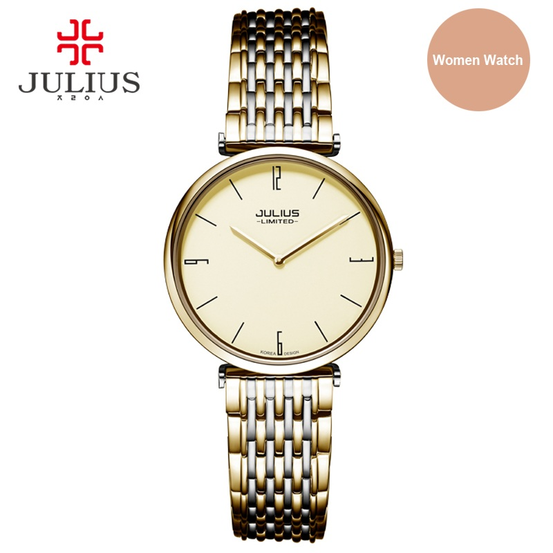 Julius Limited Edition Women Steel Ultra-thin 6.5mm Silver Rose Gold Japan Quartz Movt 30m Waterproof Ladies Dress Watch JAL-032 z ultra google edition