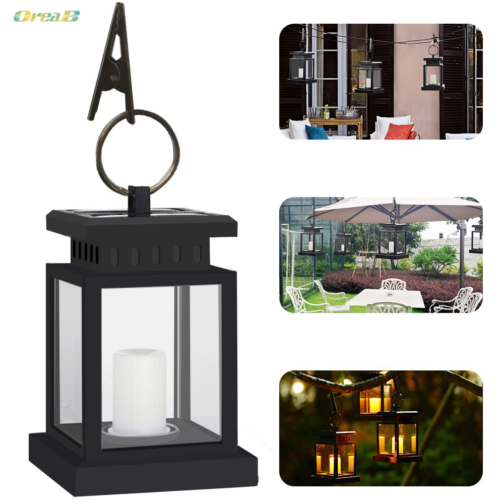 Waterproof Abs Decorative Outdoor Solar Garden Lanterns Solar Panel Powered Led Candle Light For Deck And Tree