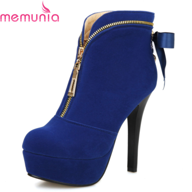 ФОТО Autumn winter 2017 elegant high quality ankle boots for woman stiletto high heels fashion round toe platform boots