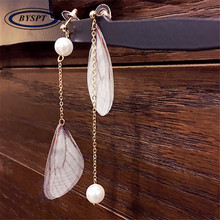 BYSPT Fashion Accessories Fairy Butterfly Wings Imitation Pearl Long Dangle Earrings For Ear Line Jewelry