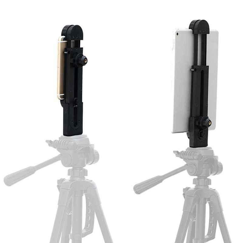 Adaptador de soporte de montaje de trípode de almohadilla ajustable Universal para iPhone iPad Air Pro Mini y Android Tablet Pad Smartphone, 1/4 pulgadas S