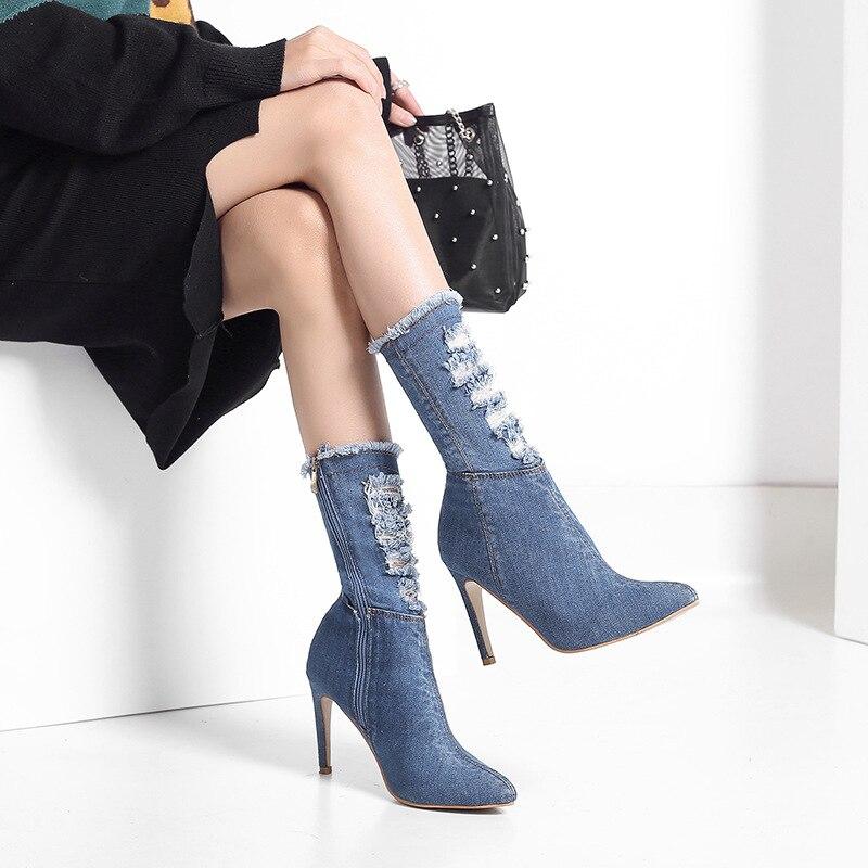 2018 automne version Coréenne de la pointu glissière latérale denim de mode haut talon stiletto femmes sauvages chaussures lumière de bule 1119