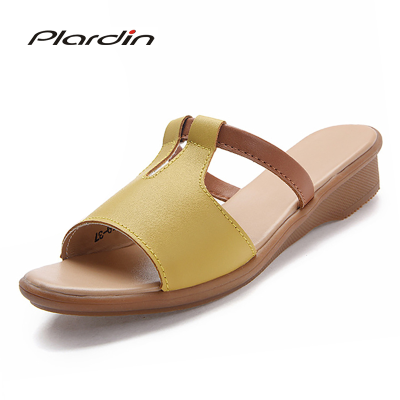 zeppa 2018 pelle Donna Casual Beige bianco giallo Vera con Plardin Summer Platform Beach Donna Shoes Bohemian nero Sandali R8Cw8qxS