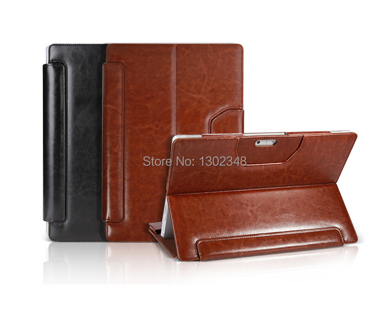 Black & Brown Crazy Horse Folio Stand Pouch Shell Skin Leather Cover Keyboard Case For Microsoft Surface Pro3 Pro 3 12 Tablet