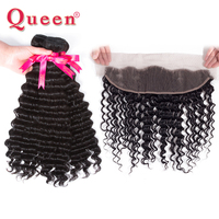 Queen Hair Products Brazilian Deep Wave Human Hair Bundles With Frontal 3 or 4 Bundles Remy Hair With Closure Weave Extensions