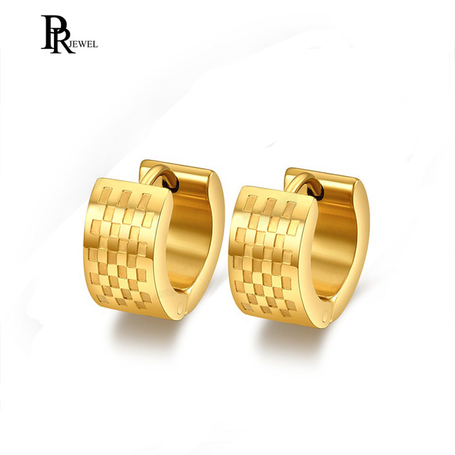 Men S Stainless Steel Hoop Earrings Gold Color Hiphop Earring For Male