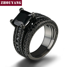 Black Gold Color Ring Sets Black AAA CZ Square Princess Cut Stone Rings Full Size Fashion Jewelry Wholesale ZYR629