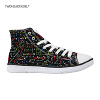 Twoheartsgirl Cool Art Math Formula Canvas Shoes High Top Casual Vulcanize Shoes for Women Comfortable Femme Street Walking Shoe