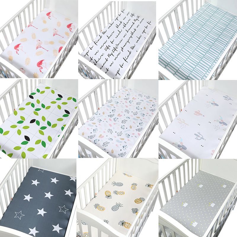 Printed Crib Sheets Set, 100% Natural Cotton Toddler Sheet Set For Baby Boys And Girls, Soft Breathable Hypoallergenic, 105*60cm