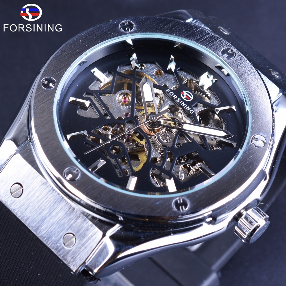 Forsining Transparent Open Work Case Sport Advendure Series Rubber Band Mens Watches Top Brand Luxury Automatic Skeleton Watches forsining 2017 dragon series transparent silver case mens watches top brand luxury mechanical skeleton watch male wrist watches