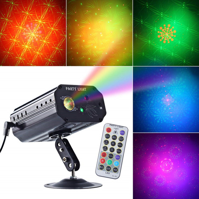 RGB 3 Lens DJ Disco Stage Laser Light Sound Activated Led Projector for Christmas Decoration Gift Birthday Wedding Party Lights