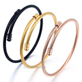 Elegant Womens Girls Black Rose Gold Plated Stainless Steel Twisted Rope Cuff Bangle Bracelet Wholesale Gift Jewelry LKG189
